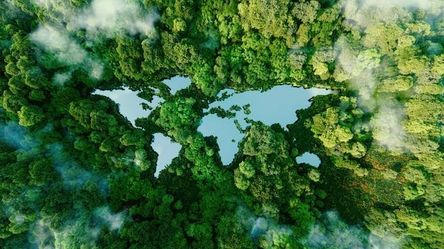 Озеро в форме континентов мира посреди нетронутой природы. метафора экологических путешествий, сохранения, изменения климата, глобального потепления и хрупкости природы. 3d визуализация