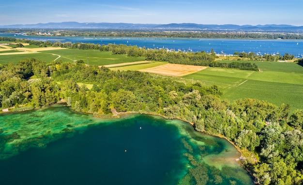스트라스부르 남쪽 라인강 근처의 호수-그랑 에스트, 프랑스