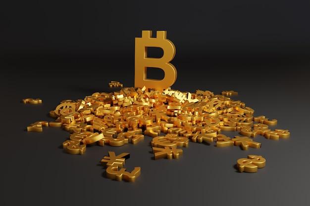 Большой знак биткойна поверх многих других знаков валюты.