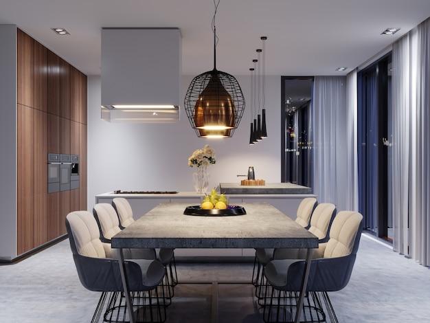 Большой обеденный стол с бетонной столешницей, большие дизайнерские подвесные светильники и шесть стильных стульев. 3d-рендеринг.