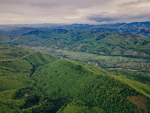 背景に山がある大きな緑の野原