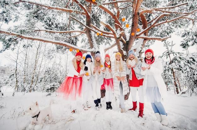Большая группа девушек с мандаринами стоит в зимнем лесу. девушки в красно-белой одежде с фруктами в заснеженном лесу.