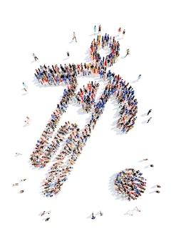 Большая группа людей в виде спортсмена, изолированного на белом