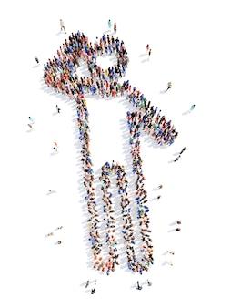 Большая группа людей в виде человека, изолированного на белом