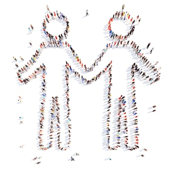 Большая группа людей в форме пары изолированные