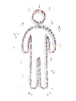 고립 된 사람의 모양에있는 사람들의 큰 그룹