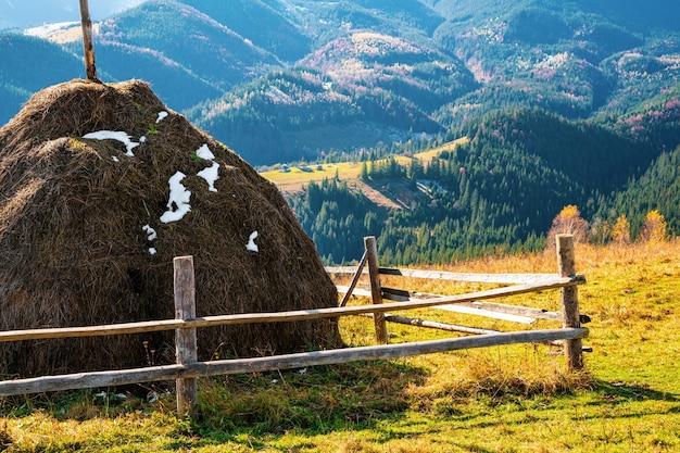 카르파티아 산맥의 경이로운 자연과 비범한 하늘을 배경으로 한 거대한 건초더미