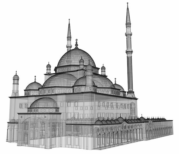 Большая мусульманская мечеть, трехмерная растровая иллюстрация с контурными линиями, подчеркивающими детали строительства