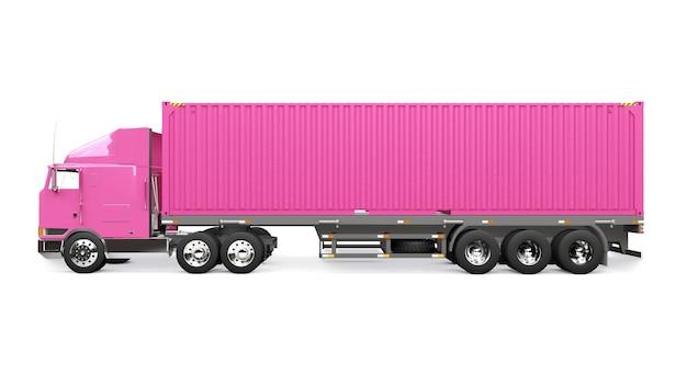 잠자는 부분과 공기역학적 확장 장치가 있는 대형 복고풍 분홍색 트럭은 바다 컨테이너가 있는 트레일러를 운반합니다. 3d 렌더링.