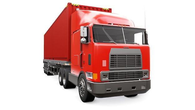 Большой ретро красный грузовик со спальной частью и аэродинамической надстройкой перевозит прицеп с морским контейнером.