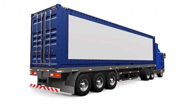 寝台部分と空力拡張を備えた大型のレトロなトラックには、海上コンテナを備えたトレーラーが搭載されています。トラックの側面には、デザイン用の空白の白いポスターがあります。 3dレンダリング。
