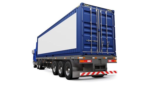잠자는 부분과 공기 역학적 확장이있는 대형 복고풍 트럭은 해상 컨테이너가있는 트레일러를 운반합니다.