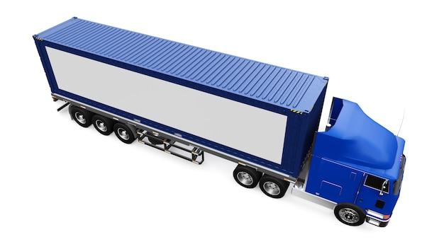 Большой ретро-грузовик со спальной частью и аэродинамической надстройкой перевозит прицеп с морским контейнером.