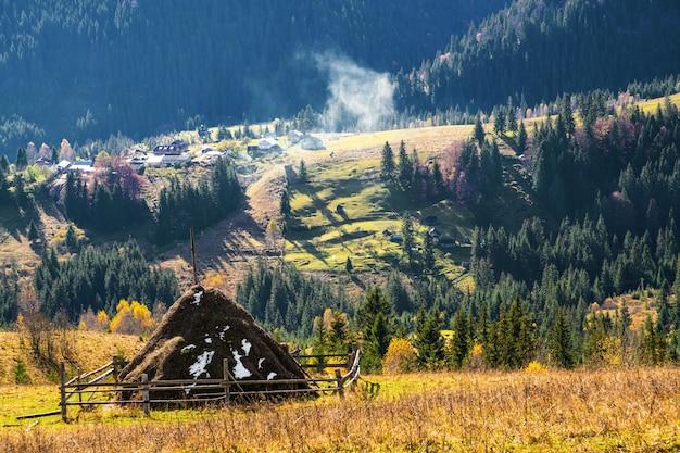 카르파티아 산맥의 멋진 가을 자연과 특별한 푸른 하늘을 배경으로 한 많은 마른 건초 더미