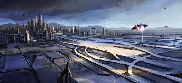 街の隣にある大きな交通ハブ、未来のテクノロジーの感覚のデジタルイラスト。