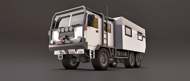 외딴 지역에서 길고 어려운 탐험을 위해 준비된 회색 배경의 큰 흰색 트럭. 바퀴에 집이 있는 트럭. 3d 삽화입니다.