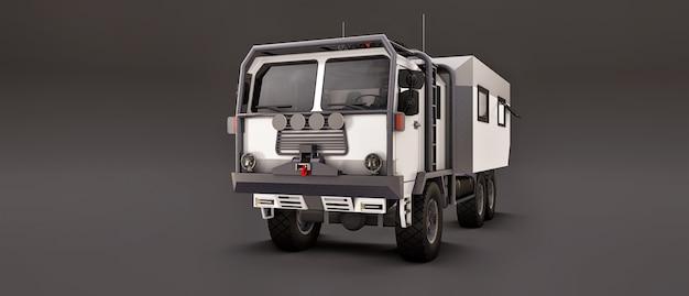 灰色のスペースにある大型の白いトラック。遠隔地での長く困難な遠征に備えています。家に車輪が付いているトラック。 3 dイラスト。