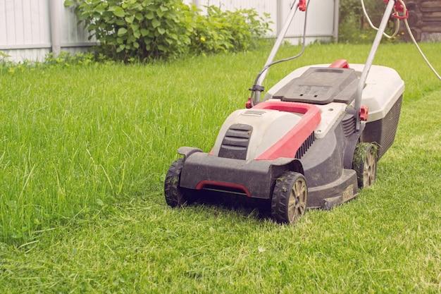 무성한 녹색 잔디 깎는 기계. 조경 및 원예의 세부 사항.