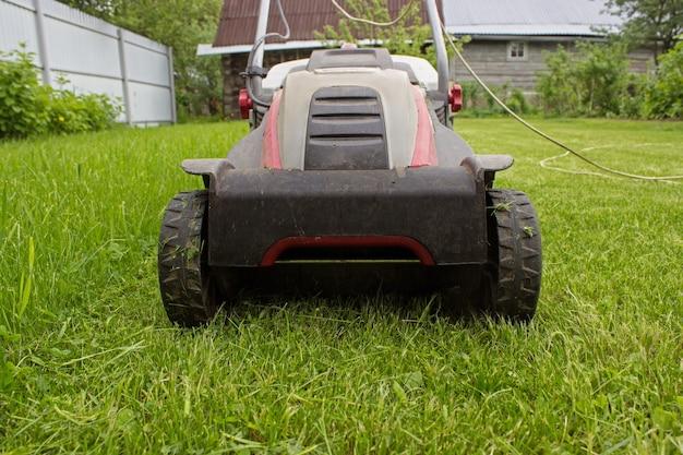 무성한 녹색 잔디 깎는 기계. 원 예 배경입니다. 조경 및 원예의 세부 사항.