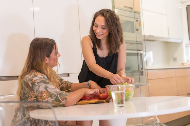 부엌에서 샐러드를 준비하는 lgbt 소녀 커플, 집에서 매일의 레즈비언 소녀 커플, 여자 관계 생활 방식