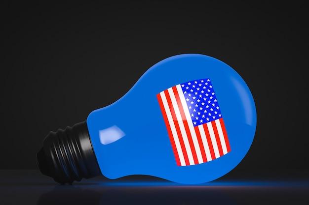 電球が光ります。アメリカの象徴主義。政治的な話題。