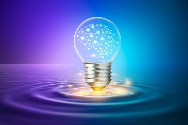 脳が入った電球が水面に浮かんでいます。想像力とアイデアを使ったコンセプト