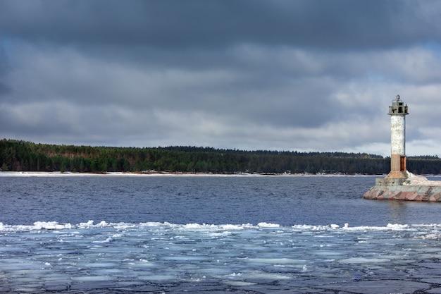 Маяк в солнечную погоду маяк на волнорезе маяк на озере
