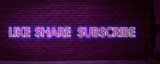 온라인 미디어 트렌드의 벽 개념에 좋아요 공유 및 구독 네온 사인