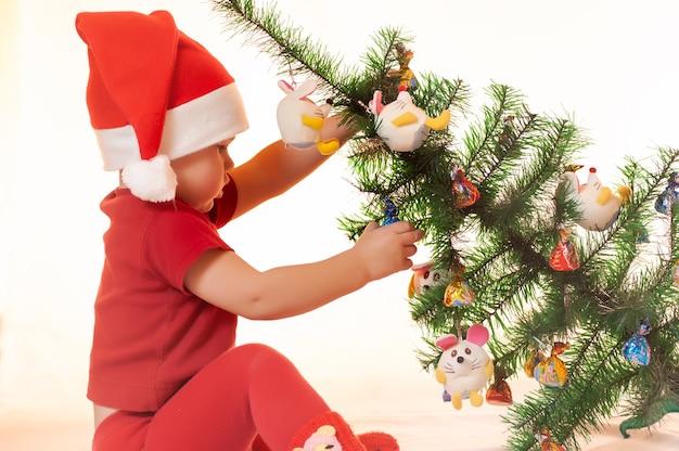어린 소년은 크리스마스 트리 아래에서 산타 클로스의 선물을 찾고 있습니다. 프리미엄 사진