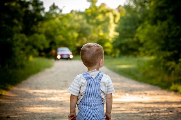 森の中の道の小さな男の子。道路上の危険。子供は路上で危険にさらされています