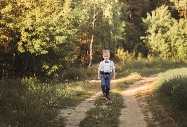 晴れた日の夏、小さな男の子が自然の中を歩きます。国の自然