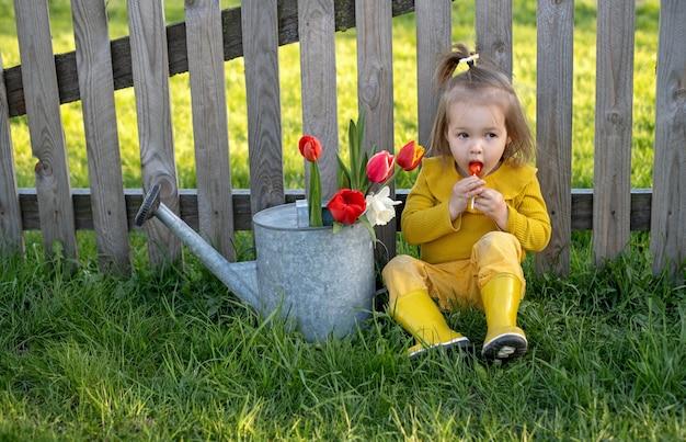 어린 소녀가 마을의 울타리 아래에 앉아 빨간 막대 사탕을 핥는 것을 즐깁니다.