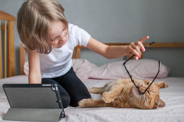 어린 소녀가 온라인으로 숙제를 하고 있고 뚱뚱한 생강 고양이가 근처에 누워 있습니다. 소녀는 안경을 쓴 고양이와 놀고 있습니다. 고품질 사진