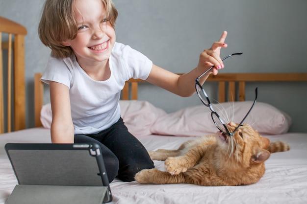 어린 소녀가 온라인으로 숙제를 하고 있다 뚱뚱한 생강 고양이가 소녀 근처에 누워 있다