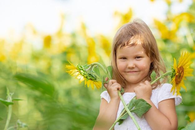 Маленькая девочка играет с цветами подсолнуха в поле с подсолнухами