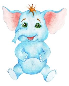 Маленький радостный слоник с большими зелеными глазами сидит на детской иллюстрации, изолированной на белом