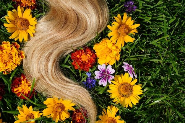 녹색 잔디 머리 건강 개념 천연 성분 코스에 꽃 사이에 금발 머리의 자물쇠 ...