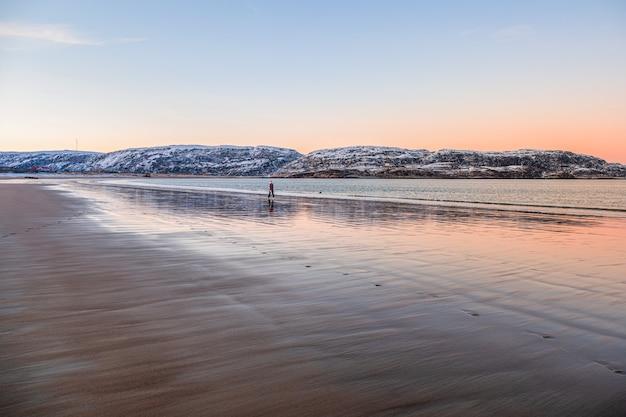 외로운 여행자가 해변을 따라 움직이고 있습니다. 북극해에 아름다운 분홍색 일몰.