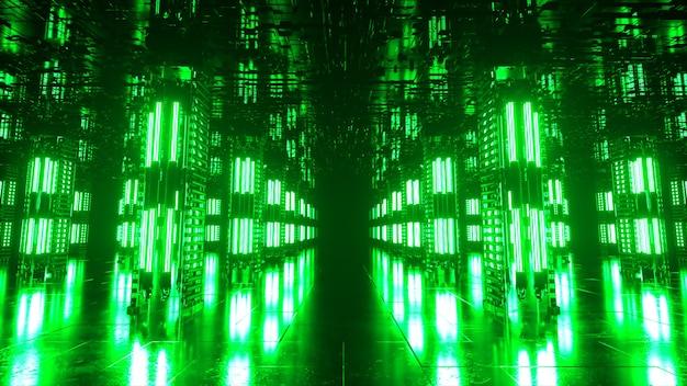 기술적인 인테리어가 있는 긴 미래형 복도입니다. 터널 끝에서 빠르게 움직이는 네온 불빛. 공상 과학 방. 원활한 루프 3d 애니메이션