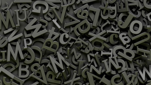 Много 3d черных букв алфавита на черном фоне