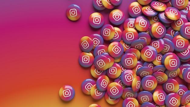 Много 3d глянцевых таблеток instagram на красочном градиентном фоне