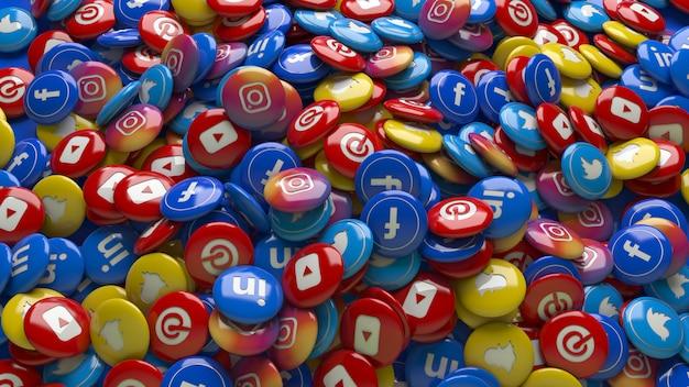 Много 3d многоцветных глянцевых таблеток социальной сети крупным планом
