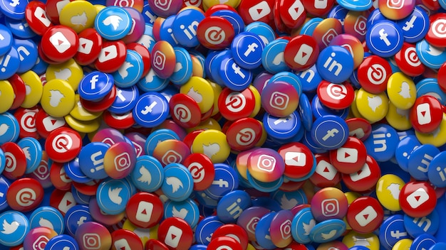Много 3d многоцветных глянцевых таблеток социальной сети крупным планом Premium Фотографии