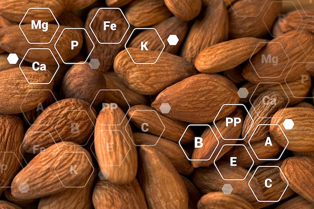 Много миндальных орехов с буквенными обозначениями витаминов и минералов. концепция здорового питания.