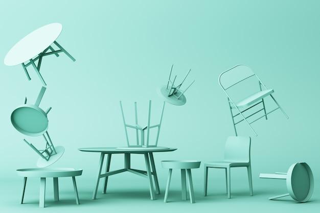 緑の色調の3 dレンダリングの椅子とコーヒーテーブルの多く