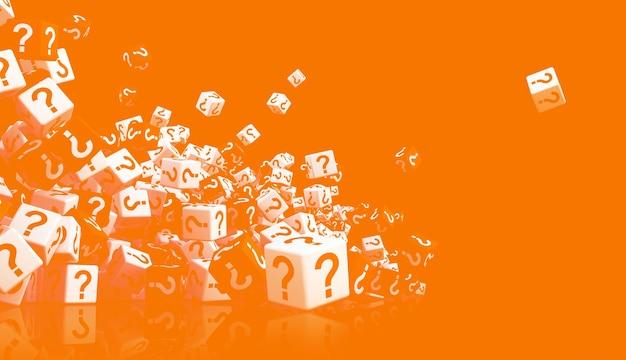 Множество крошащихся и падающих кубиков с вопросительными знаками на боку на ярко-оранжевом фоне. 3d иллюстрация