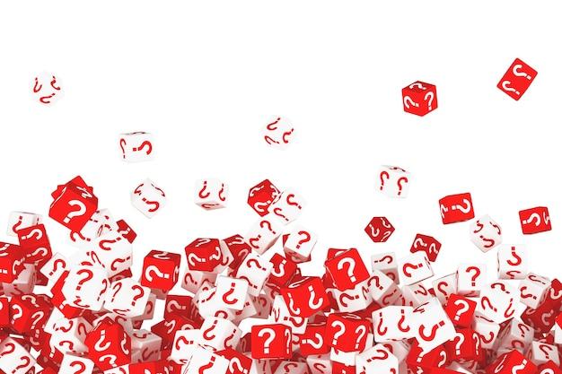 물음표가 있는 많은 떨어지는 큐브. 3d 그림