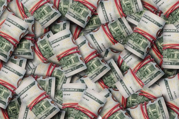 Куча денег свернута в тубу. шаблон. баннер. плоская планировка, вид сверху.