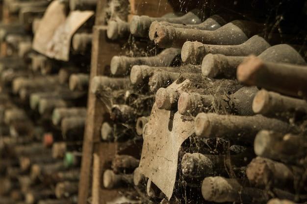 선반에 있는 와인 저장고에 있는 웹에 있는 많은 오래된 와인 병