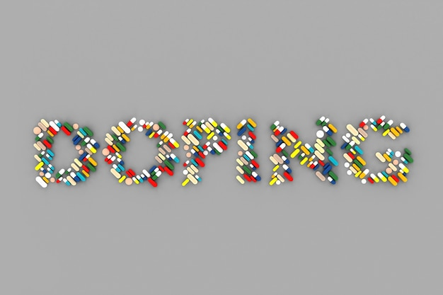 На сером столе уложено много таблеток со словом «допинг». 3d иллюстрация